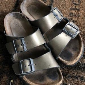Metallic Leather Anthracite Birkenstocks